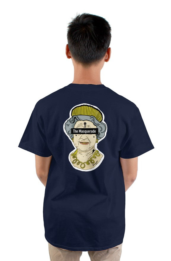 Navy blue crew neck short sleeve t-shirt with drawing of a queen with a crown with letters the masquerade on the back.