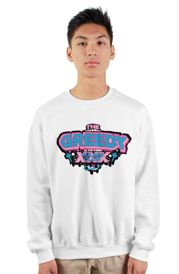 White crew neck long sleeved sweatshirt with blue and pink lettering the greedy rulers club on chest.