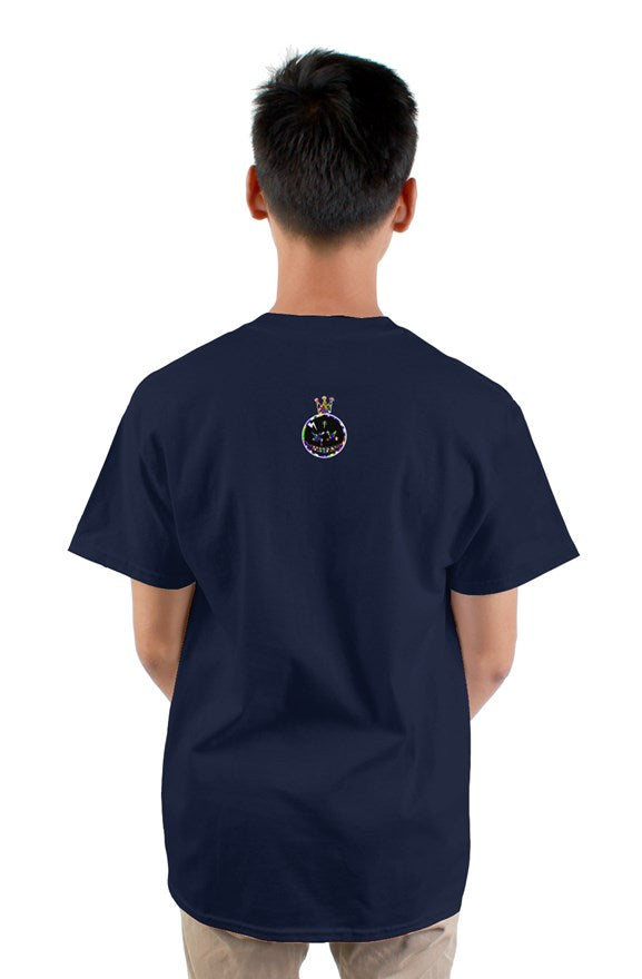 Navy blue short sleeved crew neck t-shirt with multi-colored lettering king on the back.