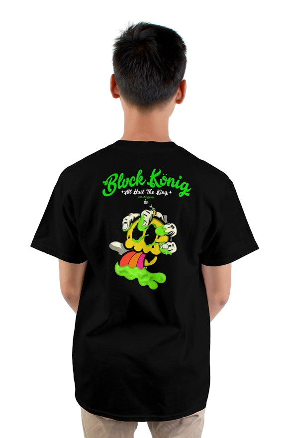 black  crew neck short sleeved t-shirt with green blvck konig all hail the king lettering and yellow skull image on back.