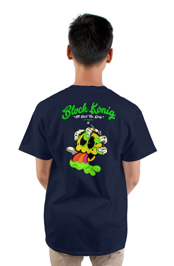 Navy blue  crew neck short sleeved t-shirt with green blvck konig all hail the king lettering and yellow skull image on back.