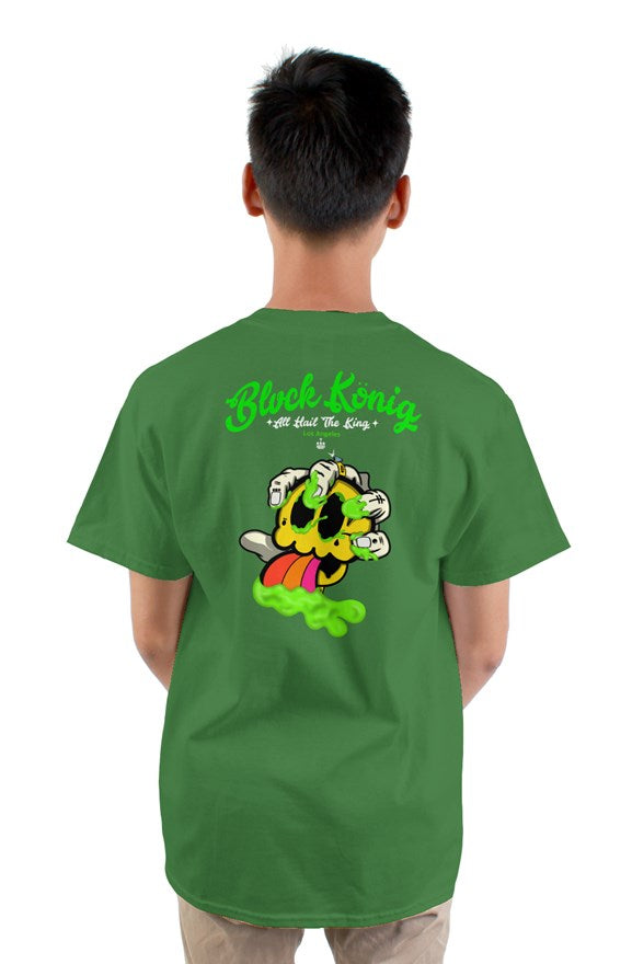 green crew neck short sleeved t-shirt with green blvck konig all hail the king lettering and yellow skull  image on back.