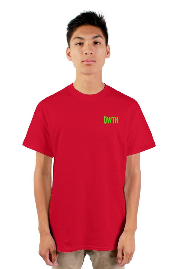 Red crew neck short sleeved t-shirt with green blvck konig all hail the king lettering and yellow skull  image on back