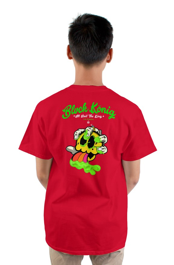 red crew neck short sleeved t-shirt with green blvck konig all hail the king lettering and yellow skull image on back.