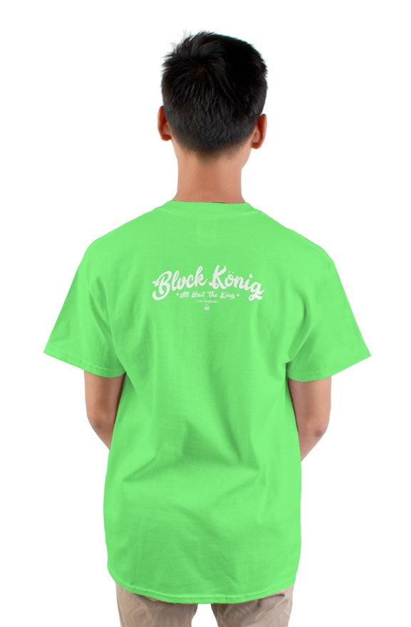 Neon green crew neck short sleeved Candy King T-Shirt with a colored crowned circle king drawing on chest.