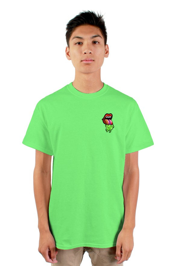 Neon short sleeve crew neck t-shirt with painted image of open mouth with protruding tongue.