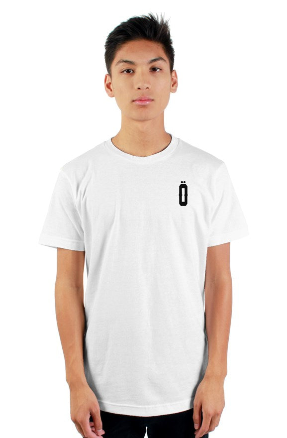White short sleeved ribbed crew neck t-shirt with white lettering off with their heads all hail the king printed on the back.