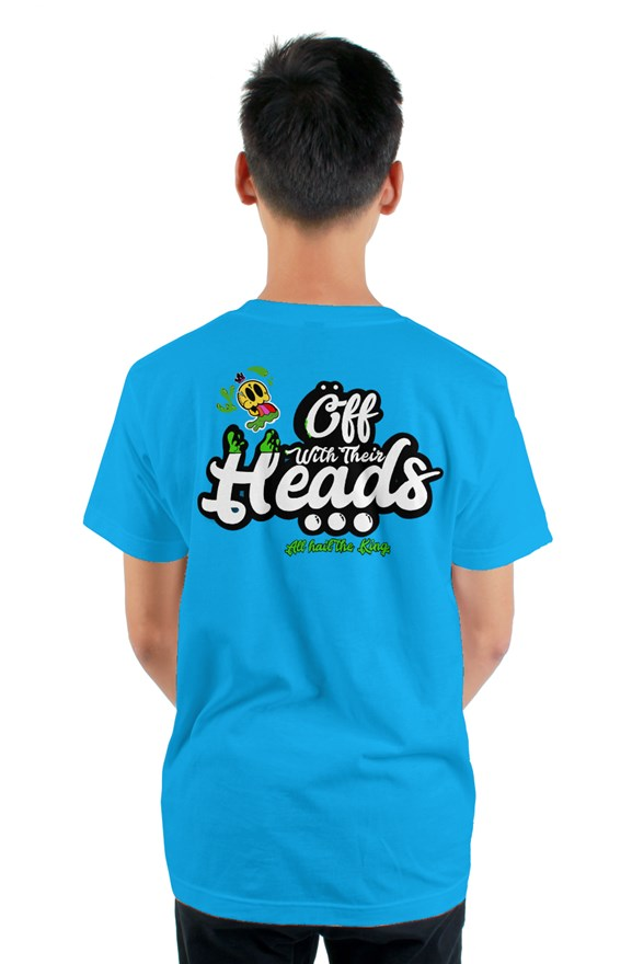 Light blue short sleeved ribbed crew neck t-shirt with white lettering off with their heads all hail the king printed on the back.