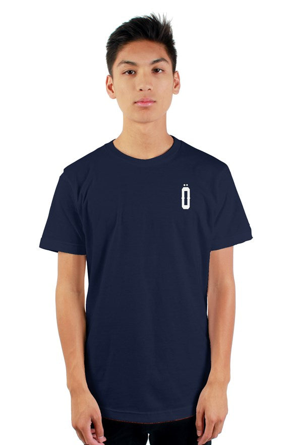 Navy blue short sleeved ribbed crew neck t-shirt with white lettering off with their heads all hail the king printed on the back.