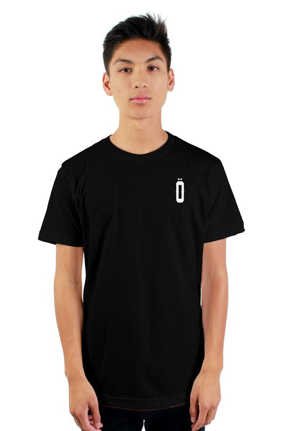 Black short sleeved ribbed crew neck t-shirt with white lettering off with their heads all hail the king printed on the back.