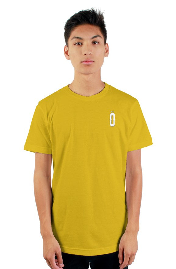 Yellow short sleeved ribbed crew neck t-shirt with white lettering off with their heads all hail the king printed on the back.