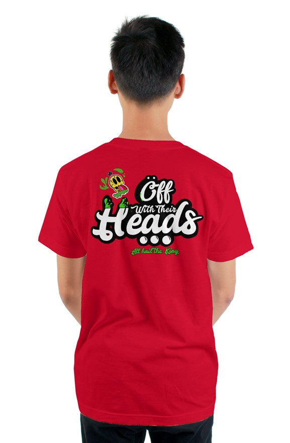 Red short sleeved ribbed crew neck t-shirt with white lettering off with their heads all hail the king printed on the back.