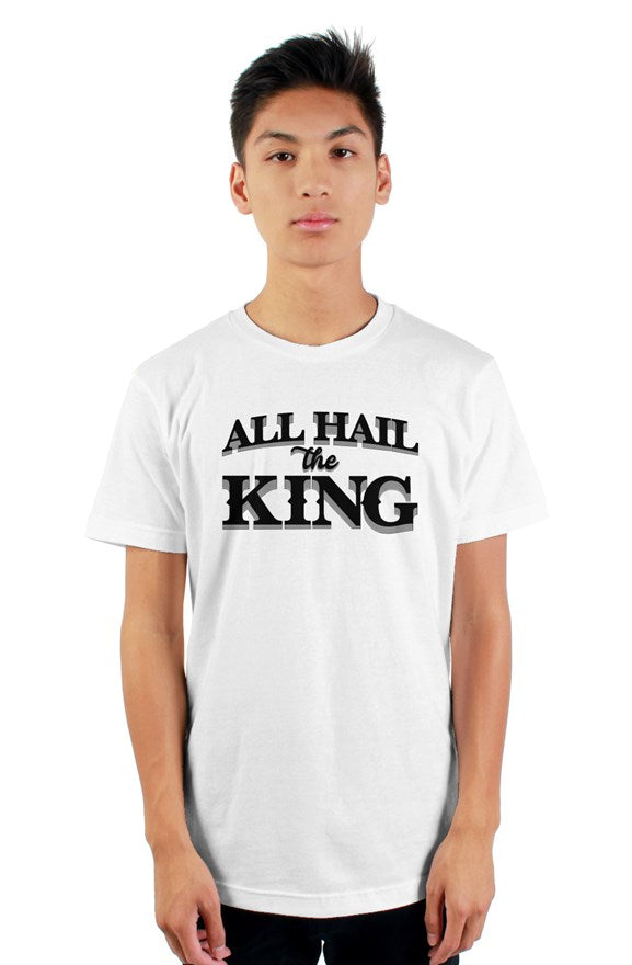 White short sleeve t-shirt with ribbed crewneck with black all hail the king located on chest