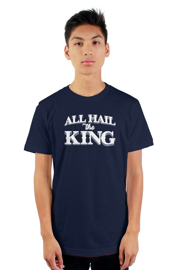 navy blue short sleeve t-shirt with ribbed crewneck with white all hail the king located on chest