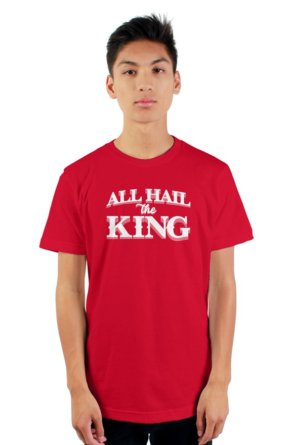 Black short sleeve t-shirt with ribbed crewneck with white all hail the king located on chest