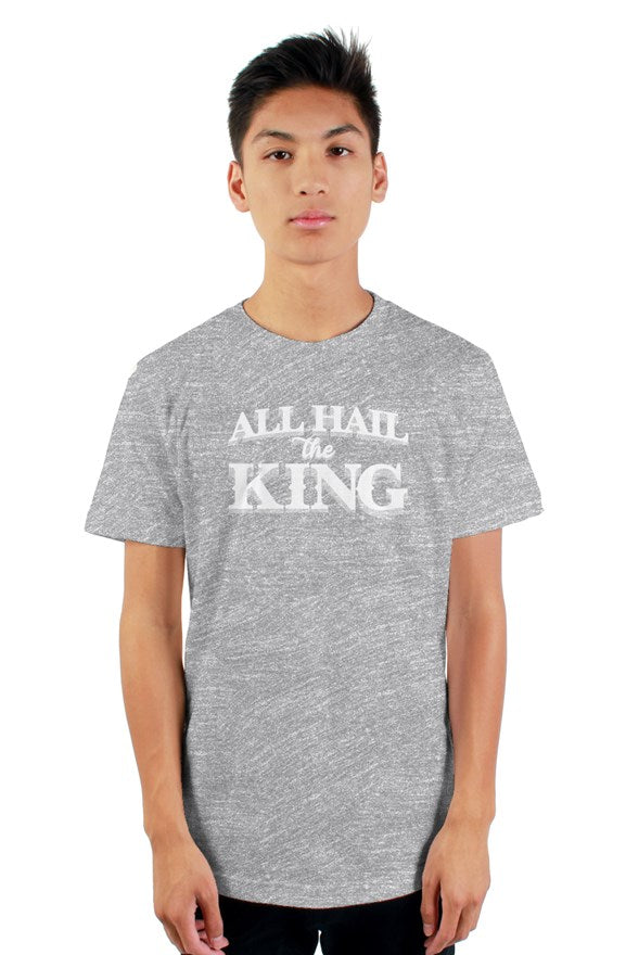 grey  short sleeve t-shirt with ribbed crewneck with white all hail the king located on chest