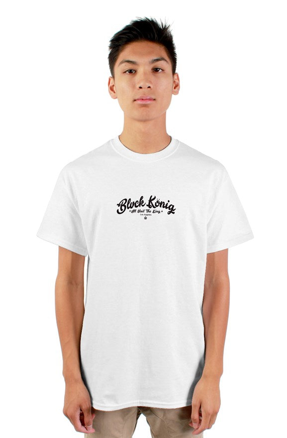White short sleeved crew neck t-shirt blvck konig all hail the king black lettering on chest.