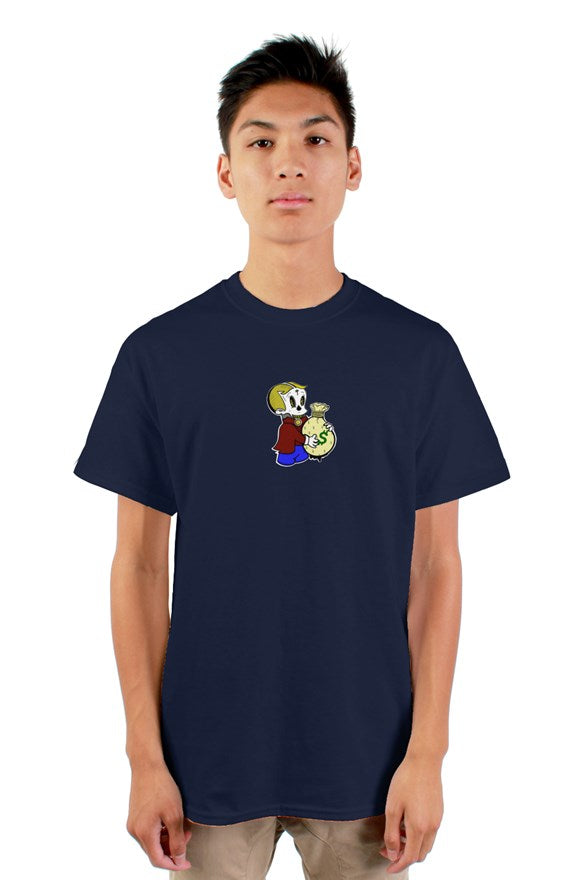 white short sleeve crew neck t-shirt with richie rich drawing holding a money bag printed on the front.