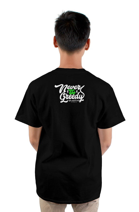 Black short sleeved crew neck t-shirt with cat cartoon drawing on chest and never too greedy white  lettering on back.