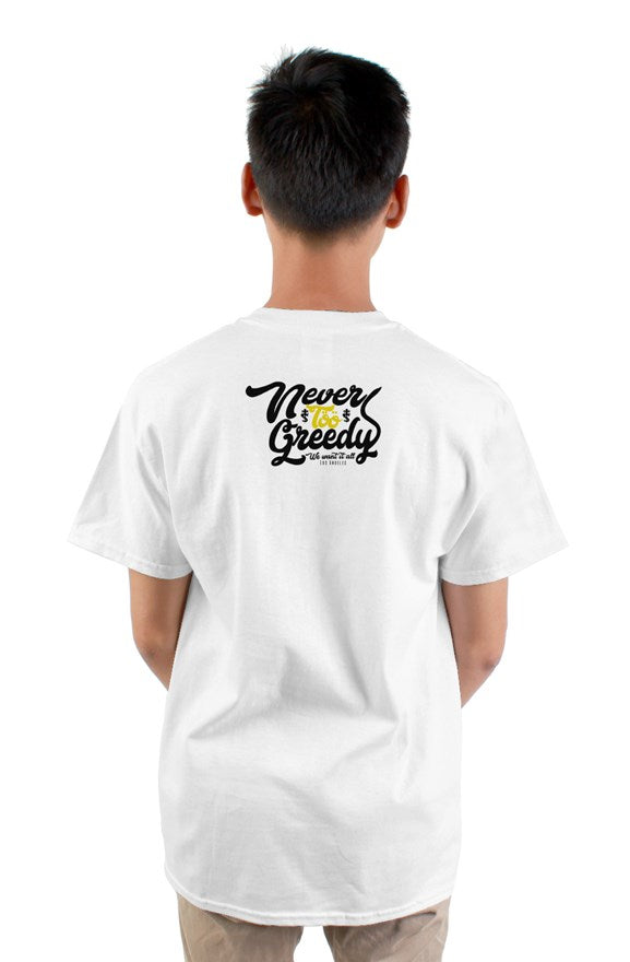 White  short sleeved crew neck t-shirt with cat cartoon drawing on chest and never too greedy black lettering on back.