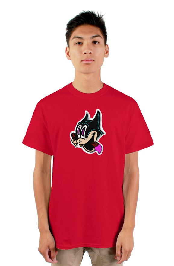 Red short sleeved crew neck t-shirt with cat cartoon drawing on chest and never too greedy white lettering on back.