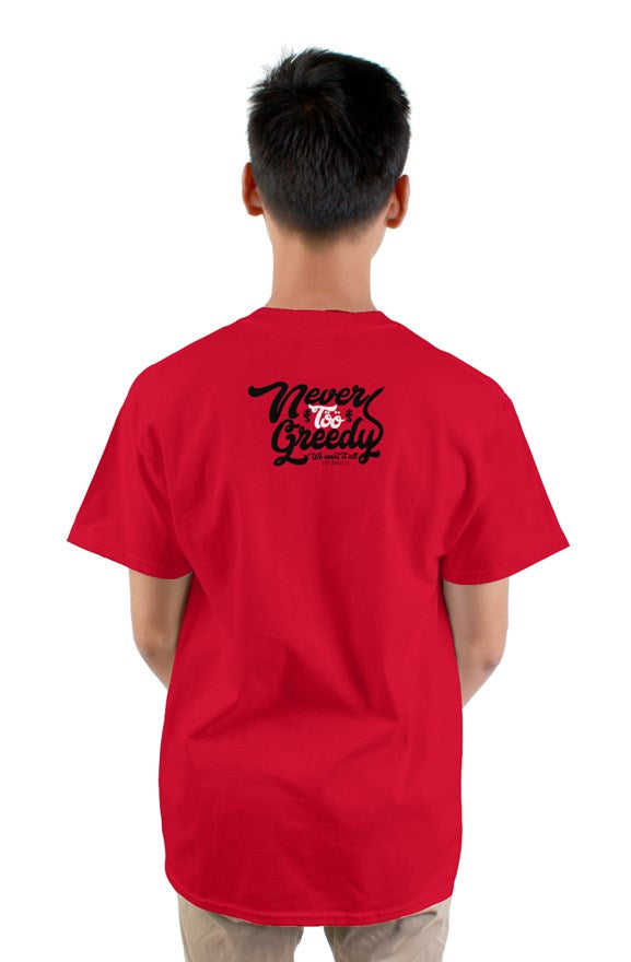 Red short sleeved crew neck t-shirt with cat cartoon drawing on chest and never too greedy black lettering on back.