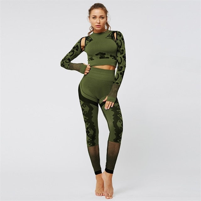 Army Green Printed Yoga Set