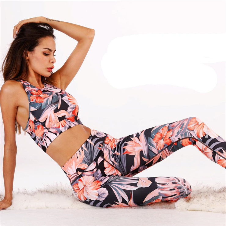 Warm Orange Printed Yoga Set