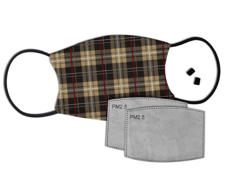 Brown Tartan Custom Face Mask with Filter Face Masks Hot Merch