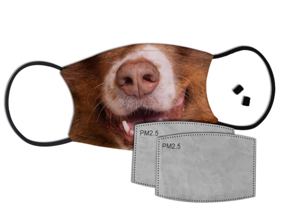 Happy Dog Face Custom Face Mask with Filter Face Masks Hot Merch
