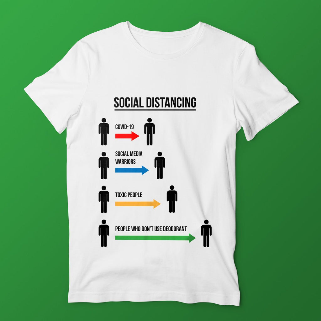Social Distancing T-Shirts Hot Merch Small White