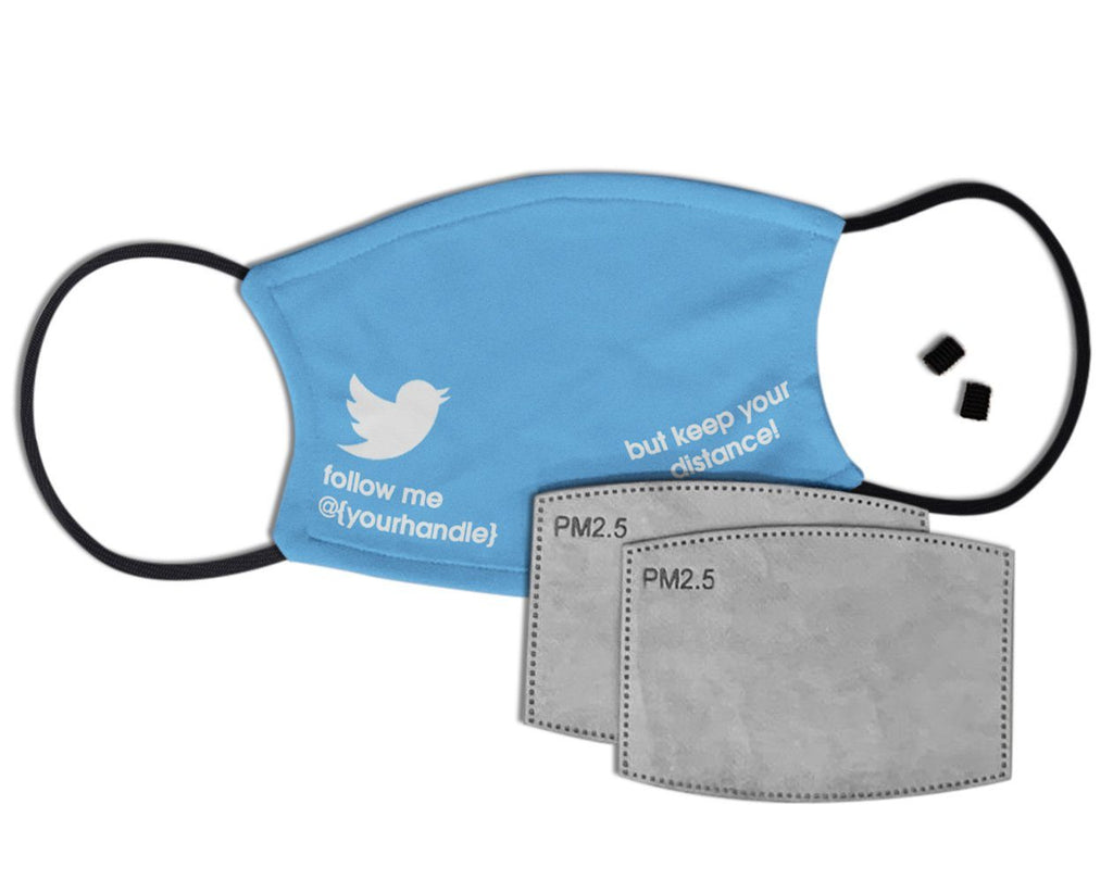 Follow Me @ - Personalised Face Mask with Filter Face Masks Hot Merch Twitter