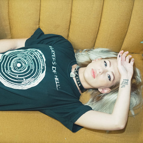 Los Angeles After Dark Clothing Brand. Carter Cruise wears the unisex Layers of Hell Distressed Graphic T-Shirt. This shirt and all other clothing items were made and designed in Los Angeles.