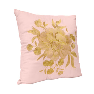 Gold Embroidered Floral Cushion - Vida Style