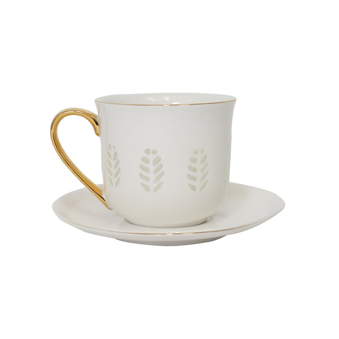Gold Trim Clear Leafed Tea Cup - Vida Style
