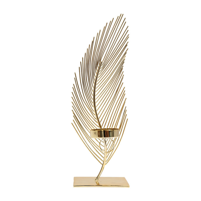 Gold Feather Tealight Holder