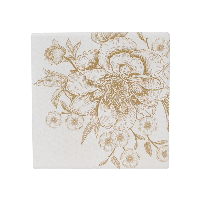 Gold Flower Ceramic Coaster