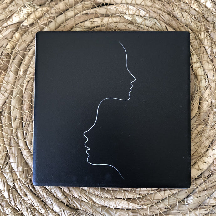 Monochrome Faces Ceramic Coaster - Vida Style