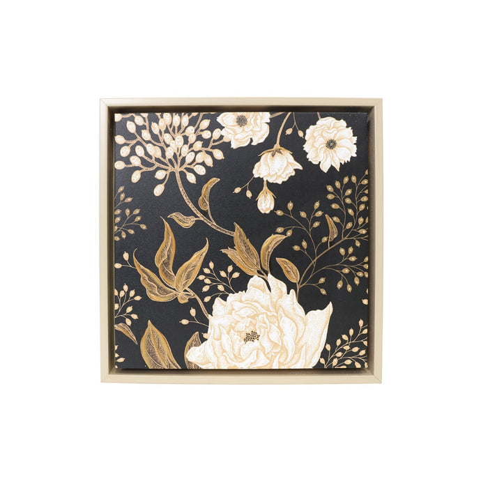 Dark Floral Framed Canvas - 34x34 - Vida Style