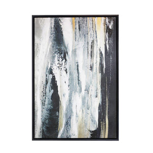 Black Gold Waterfall Framed Canvas - 44x64 - Vida Style