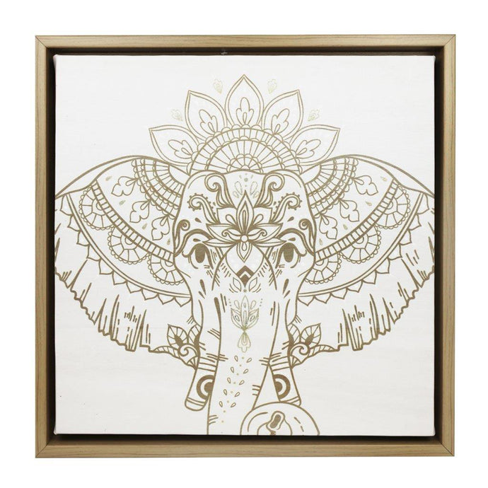Gold Elephant Framed Canvas - 34x34 - Vida Style