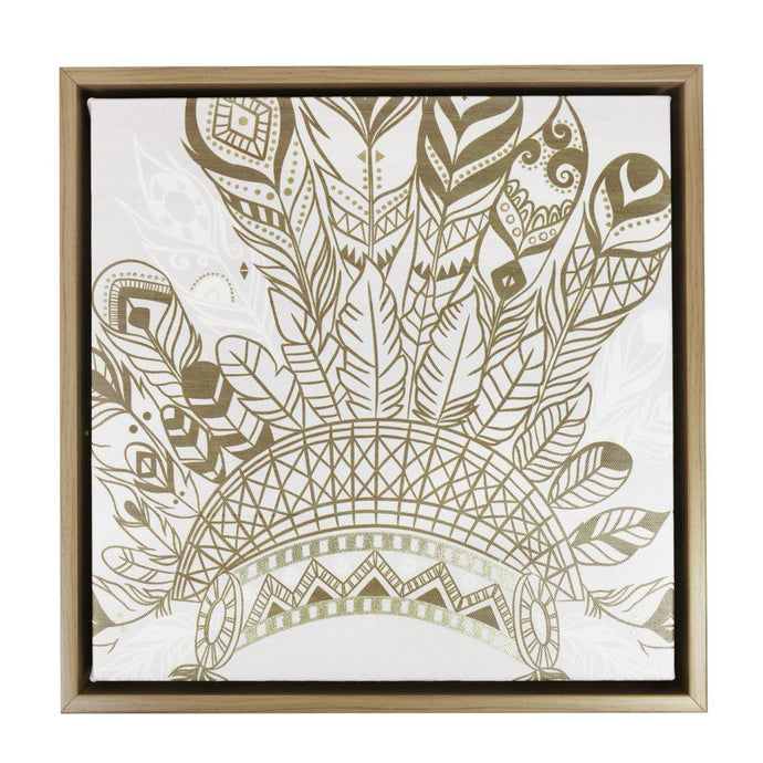 Gold Headdress Framed Canvas - 34x34 - Vida Style