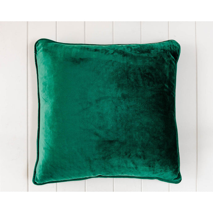 Luxe Emerald Velvet Square Cushion - Vida Style