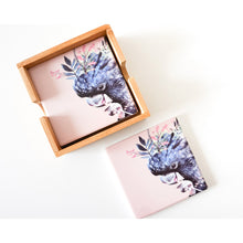 Load image into Gallery viewer, Colourful Black Cockatoo Ceramic Coaster - Set of 4 - Vida Style