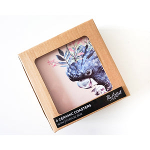 Colourful Black Cockatoo Ceramic Coaster - Set of 4 - Vida Style