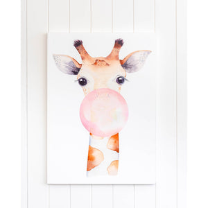 Bubble Gum Giraffe Canvas Print - 50x70