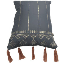 Load image into Gallery viewer, Aegean Blue Side Tassel Cushion