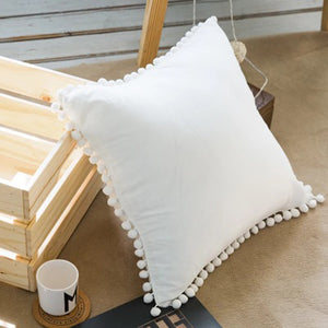 White Mini Pompom Cushion - Vida Style