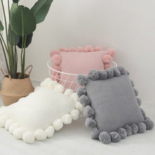 Load image into Gallery viewer, Pink Knitted Pompom Cushion - Vida Style