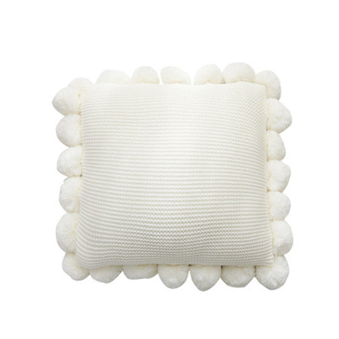 White Knitted Pompom Cushion - Vida Style